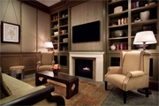 Interior view of custom living room design and fabrication part of our millwork services.