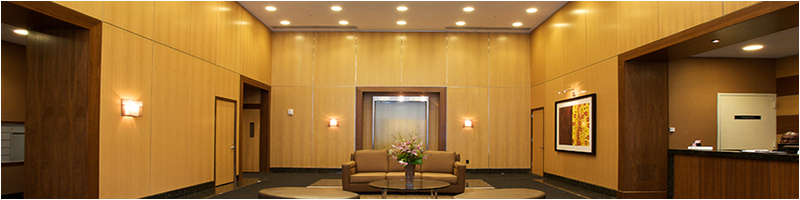 A Commercial Lobby another great example of commercial design and Millwork.